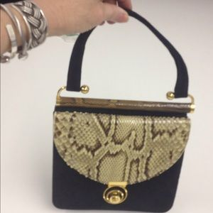 Bags - Black suede and Snakeskin Handbag
